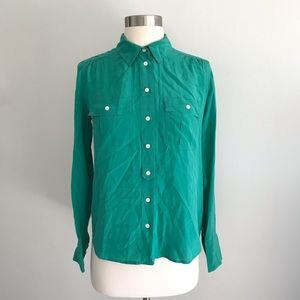 J.Crew 100% Silk Green Button Down Shirt Sz 2